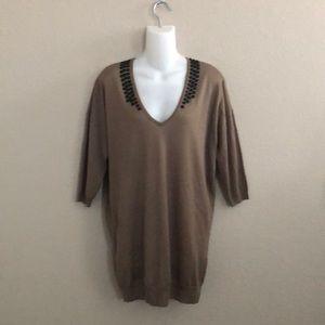 H&M v-neck embellished 3/4 sleeve tunic sweater